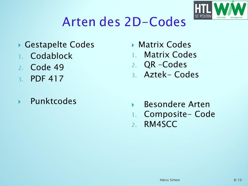 Arten des 2D-Codes Gestapelte Codes Codablock Code 49 PDF 417