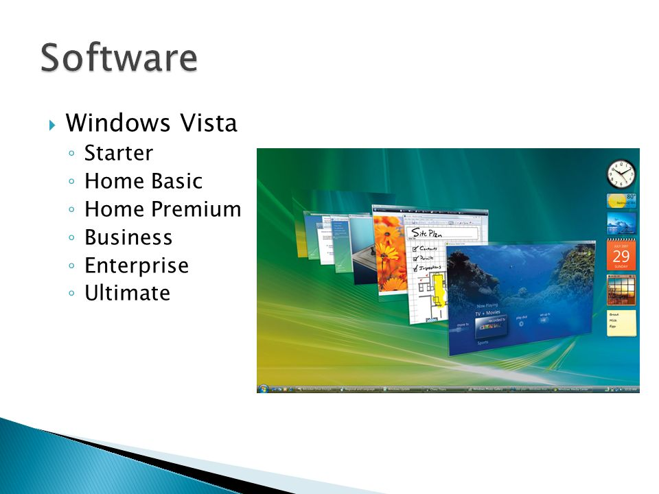 Software Windows Vista Starter Home Basic Home Premium Business
