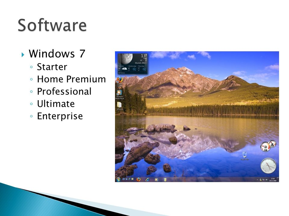Software Windows 7 Starter Home Premium Professional Ultimate