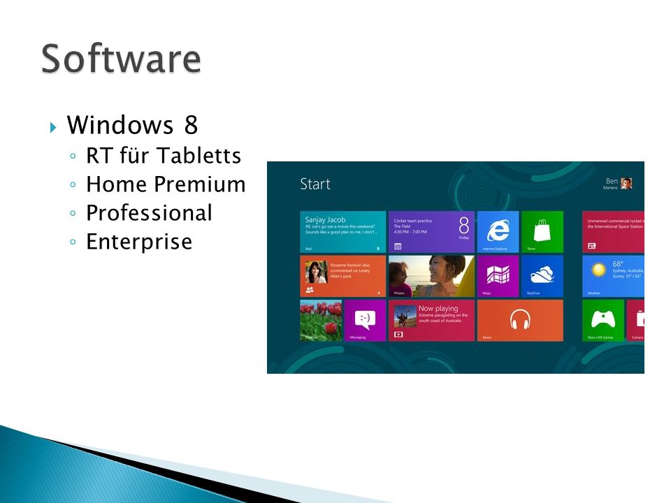 Software Windows 8 RT für Tabletts Home Premium Professional