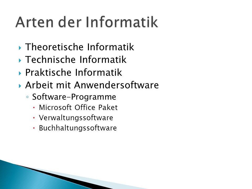 Arten der Informatik Theoretische Informatik Technische Informatik