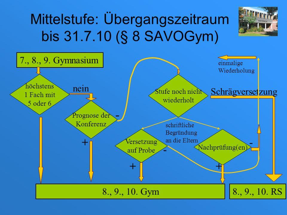 Mittelstufe: Übergangszeitraum bis 31.7.10 (§ 8 SAVOGym)