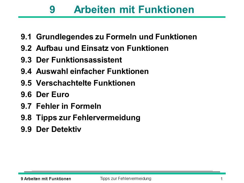 9 Arbeiten mit Funktionen