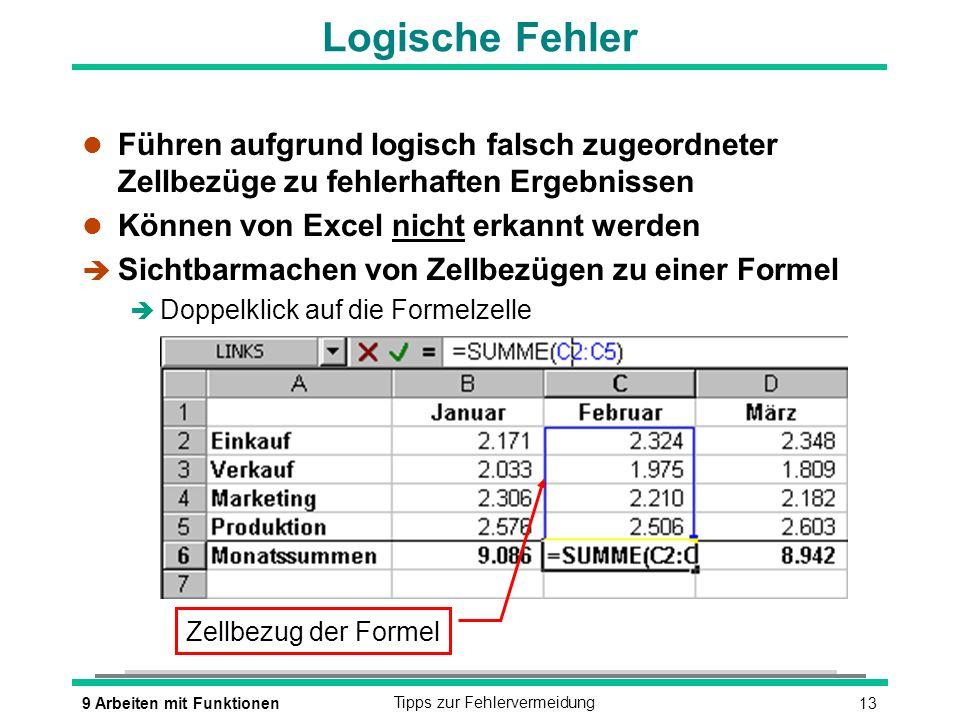 Logische Fehler Führen aufgrund logisch falsch zugeordneter Zellbezüge zu fehlerhaften Ergebnissen.