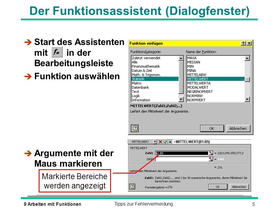 Der Funktionsassistent (Dialogfenster)