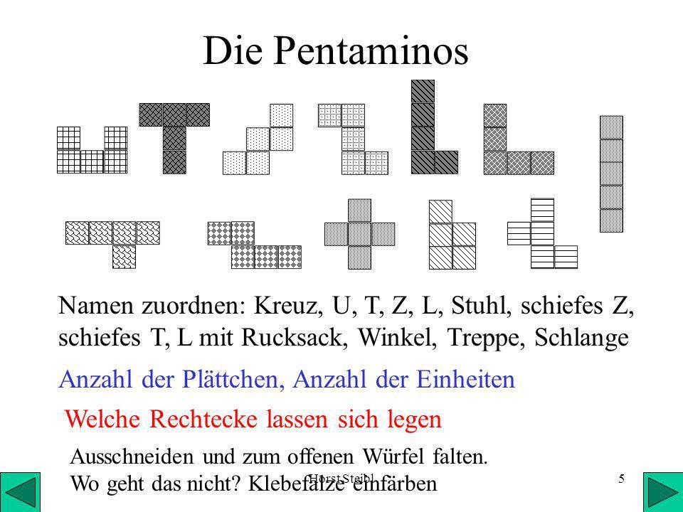 Die Pentaminos Namen zuordnen: Kreuz, U, T, Z, L, Stuhl, schiefes Z, schiefes T, L mit Rucksack, Winkel, Treppe, Schlange.