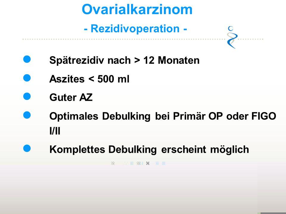 Ovarialkarzinom - Rezidivoperation - Spätrezidiv nach > 12 Monaten