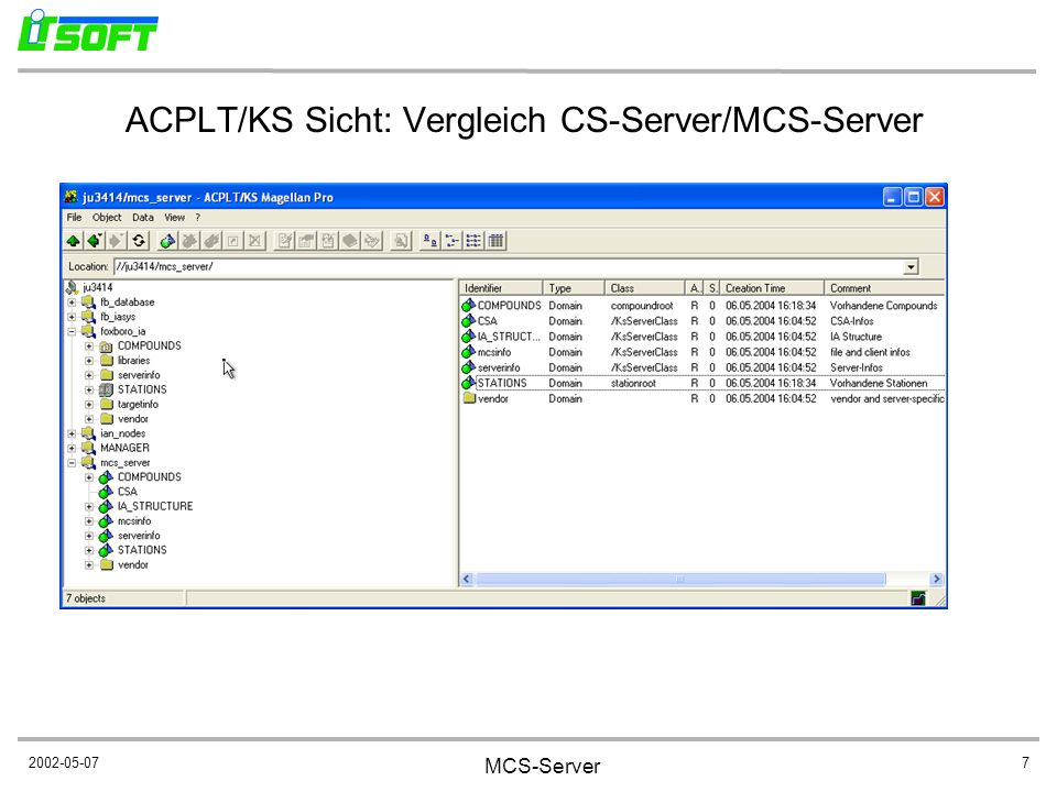 ACPLT/KS Sicht: Vergleich CS-Server/MCS-Server