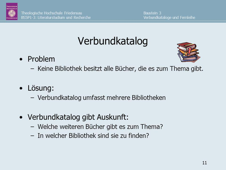 Verbundkatalog Problem Lösung: Verbundkatalog gibt Auskunft: