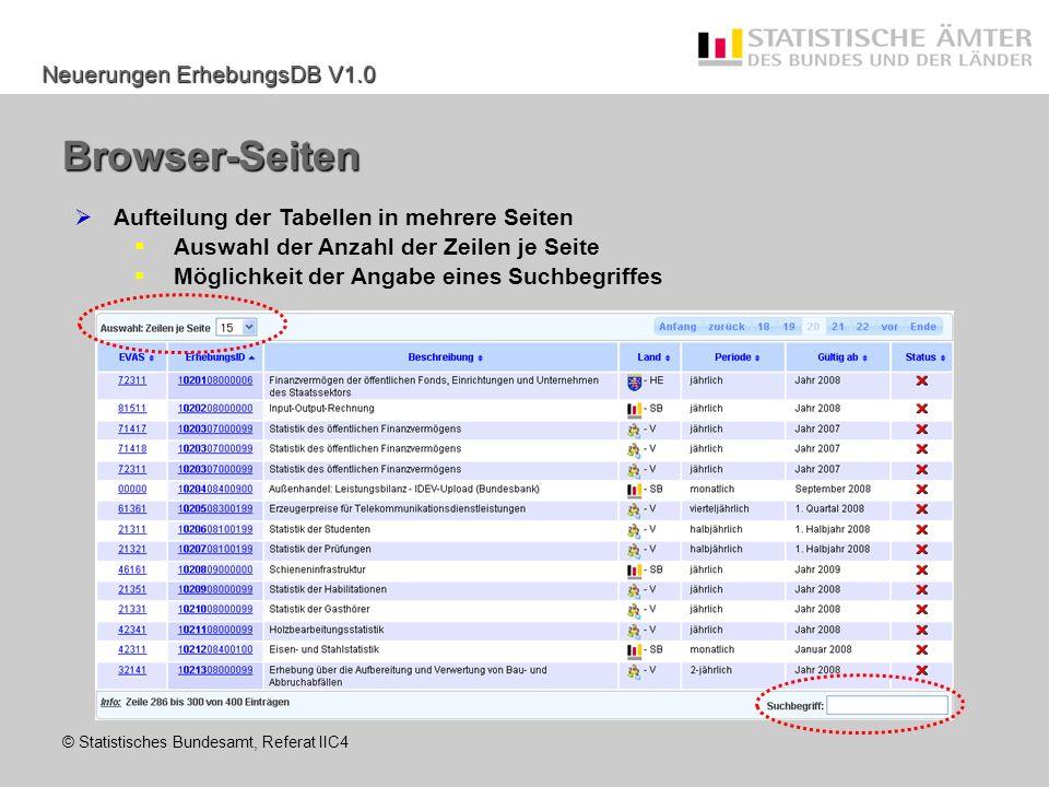 Browser-Seiten Aufteilung der Tabellen in mehrere Seiten