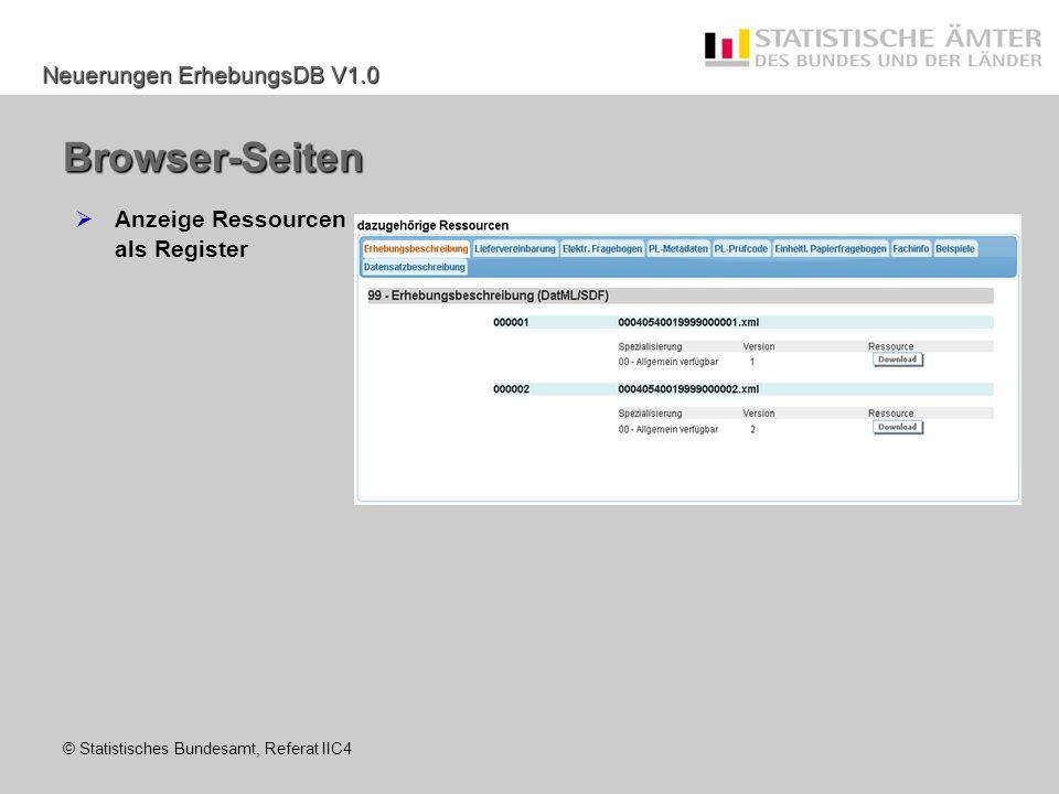 Browser-Seiten Anzeige Ressourcen als Register