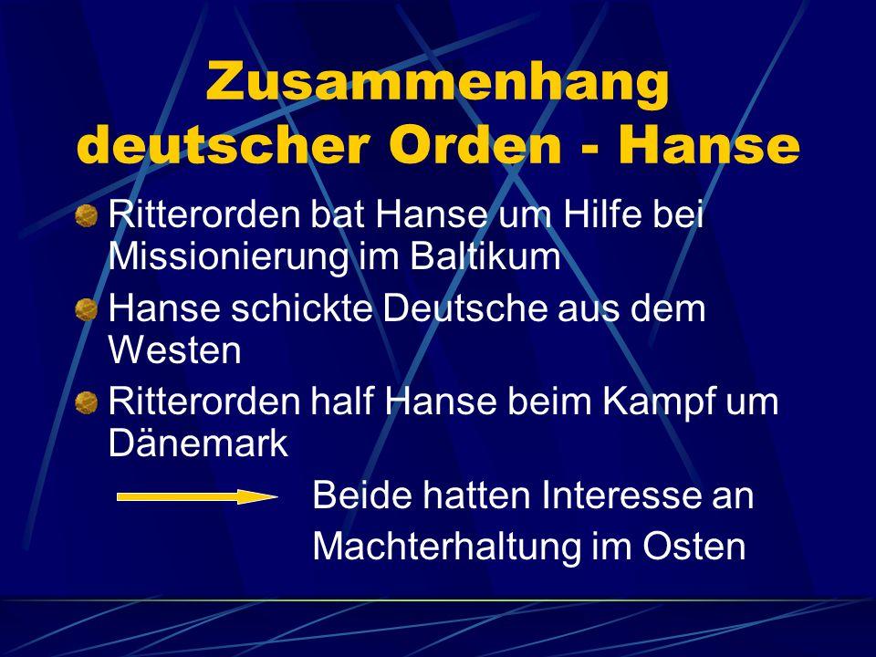 Zusammenhang deutscher Orden - Hanse