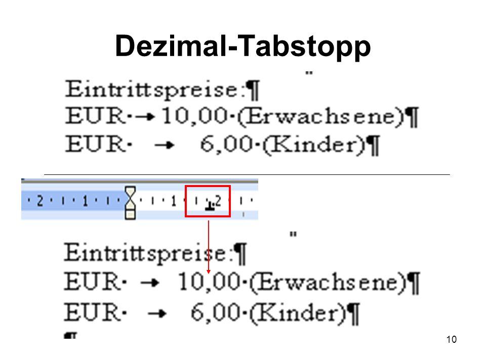 Dezimal-Tabstopp