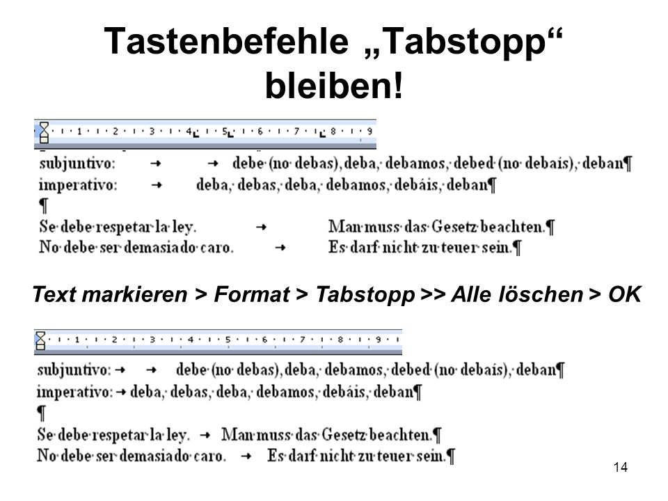 """Tastenbefehle """"Tabstopp bleiben!"""