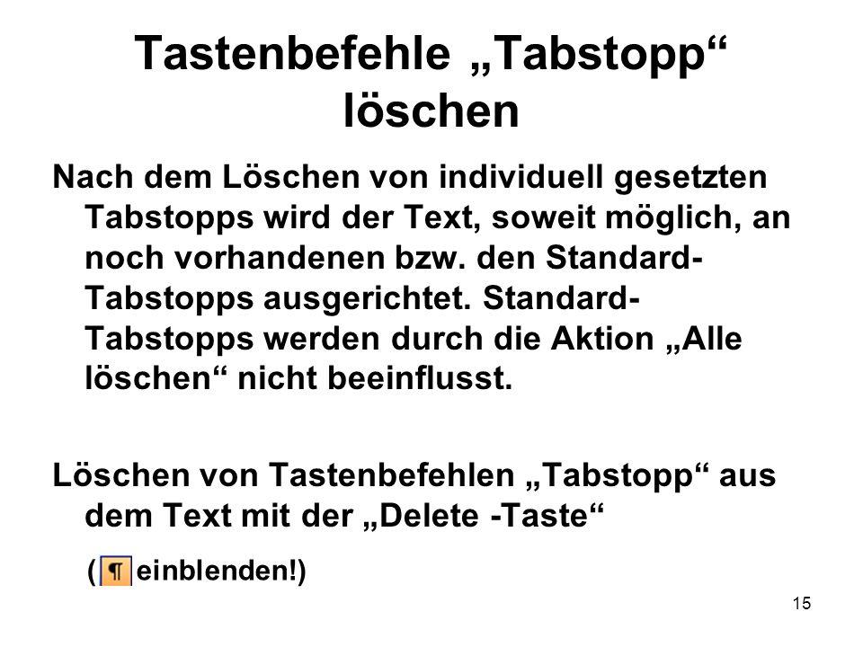 """Tastenbefehle """"Tabstopp löschen"""