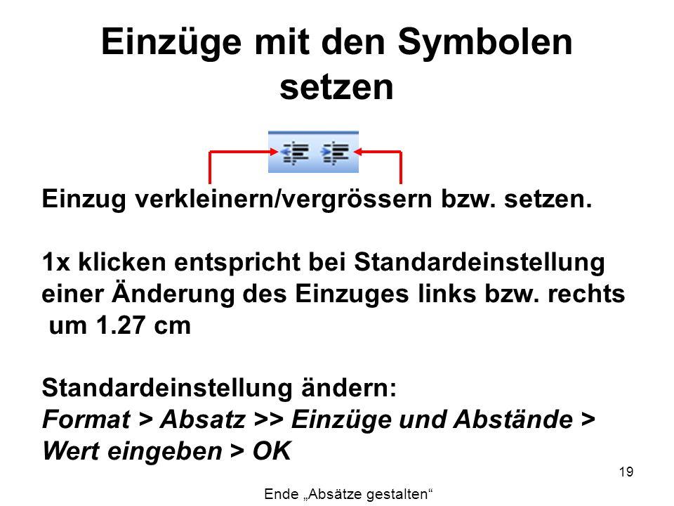 Einzüge mit den Symbolen setzen