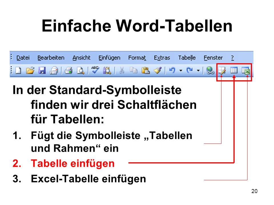Einfache Word-Tabellen