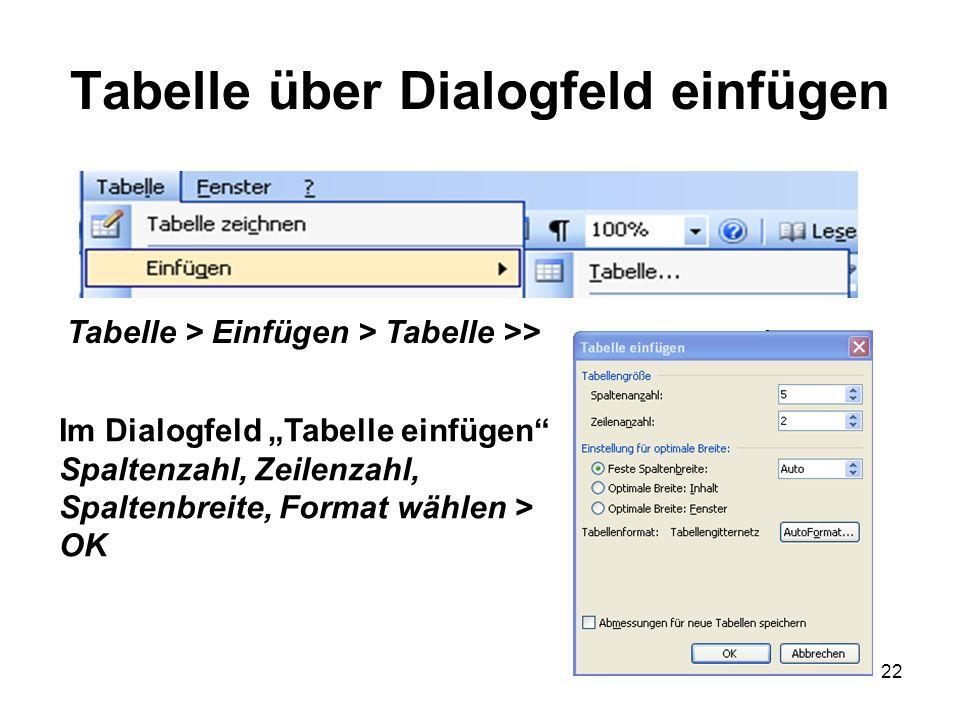 Tabelle über Dialogfeld einfügen