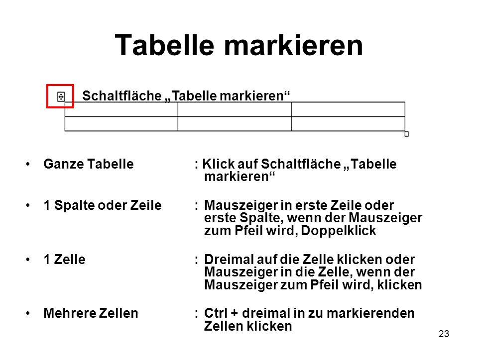 """Tabelle markieren Schaltfläche """"Tabelle markieren"""