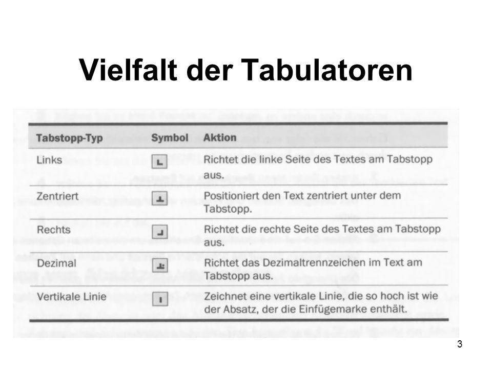 Vielfalt der Tabulatoren