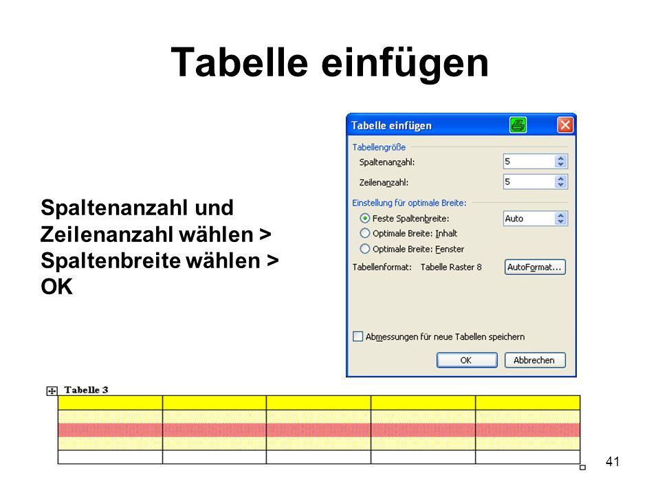 Tabelle einfügen Spaltenanzahl und Zeilenanzahl wählen >