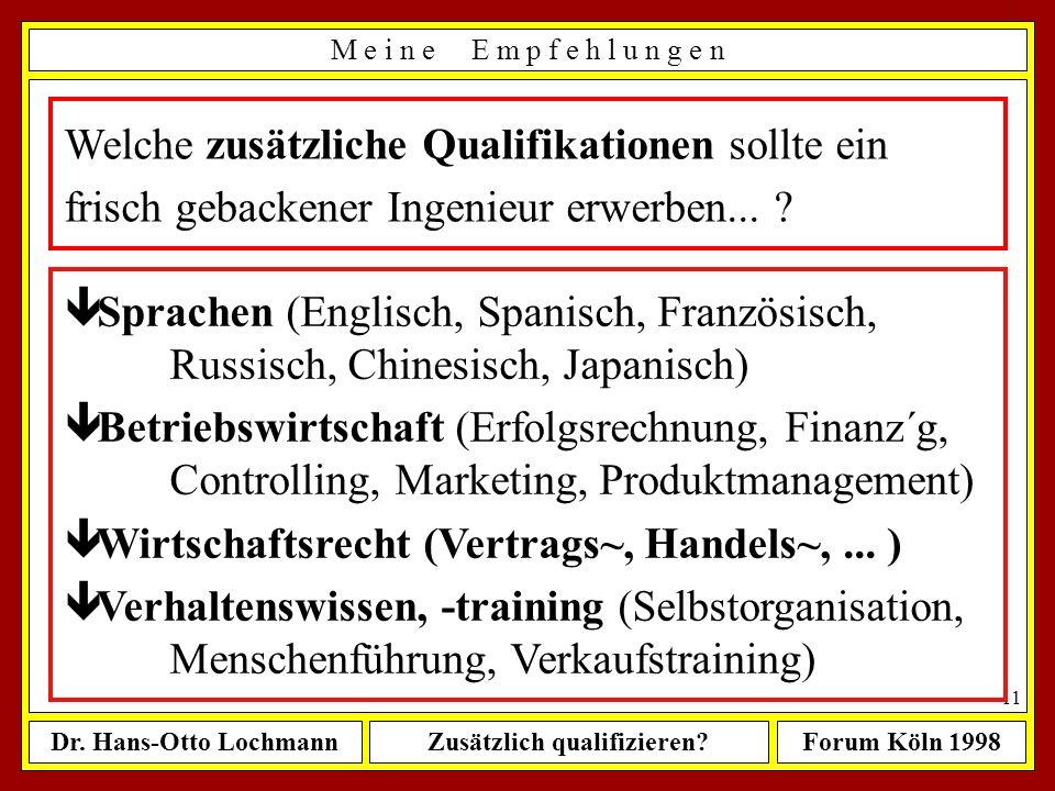 Welche zusätzliche Qualifikationen sollte ein