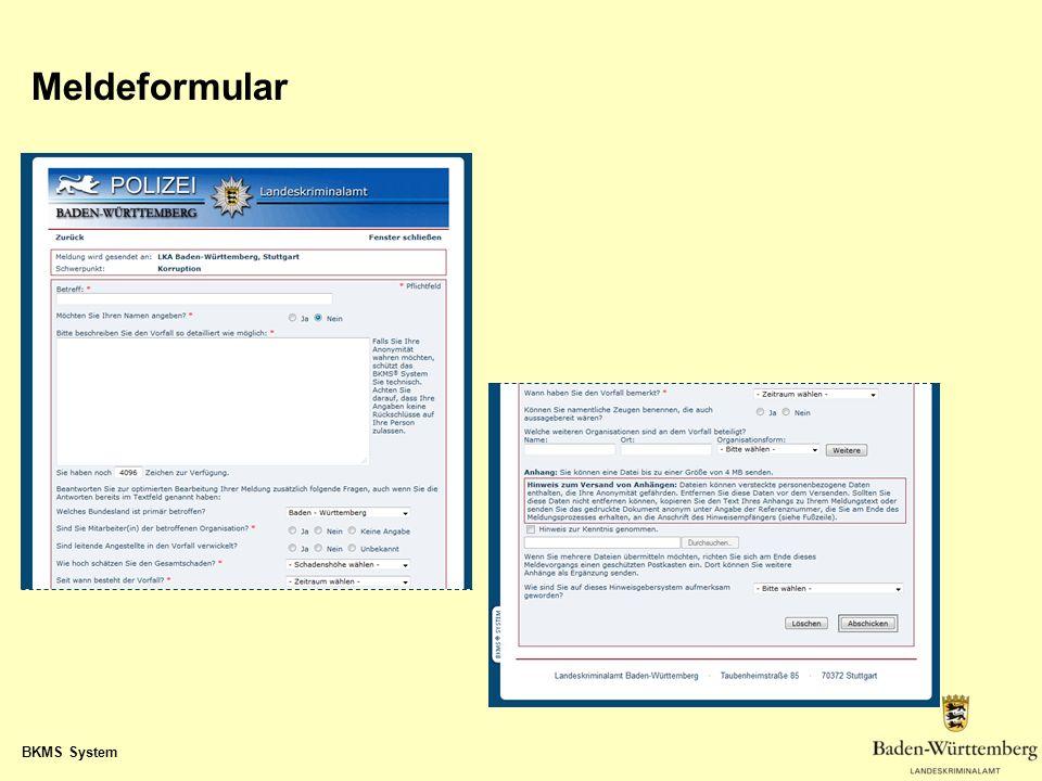 Meldeformular BKMS System