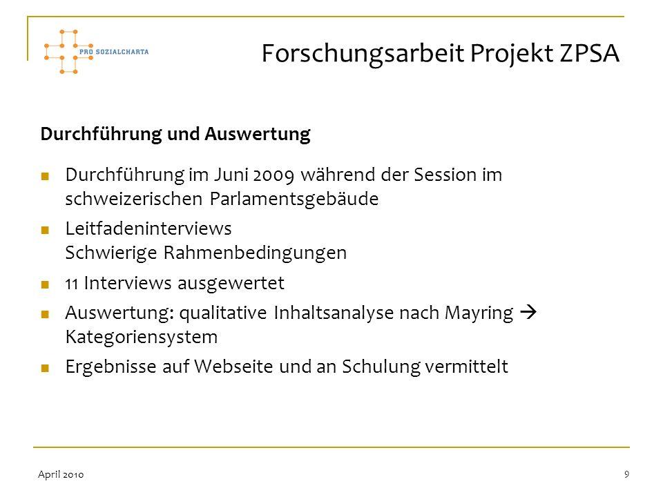 Forschungsarbeit Projekt ZPSA