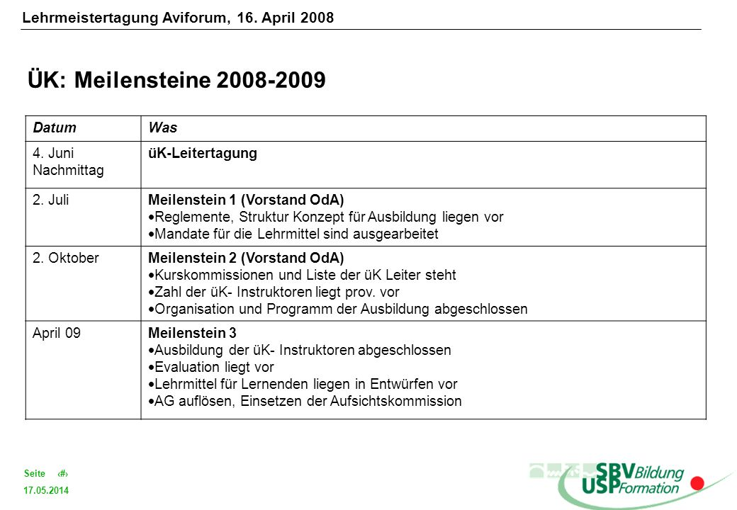 ÜK: Meilensteine 2008-2009 Lehrmeistertagung Aviforum, 16. April 2008