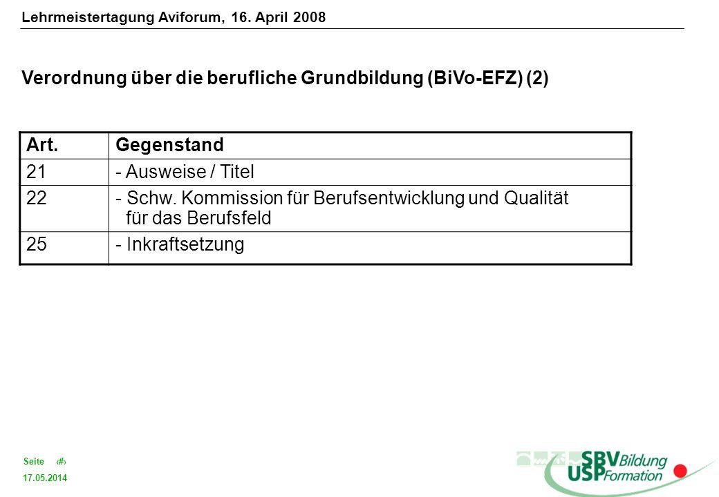 Verordnung über die berufliche Grundbildung (BiVo-EFZ) (2) Art.