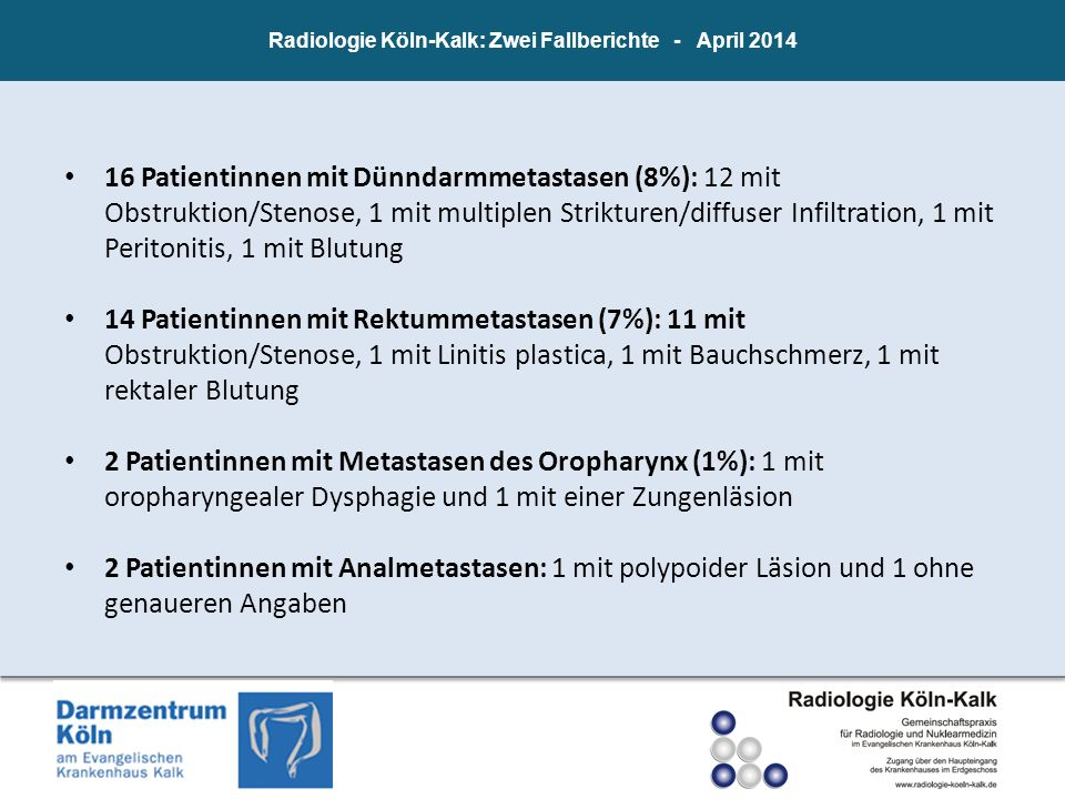Radiologie Köln-Kalk: Zwei Fallberichte - April 2014