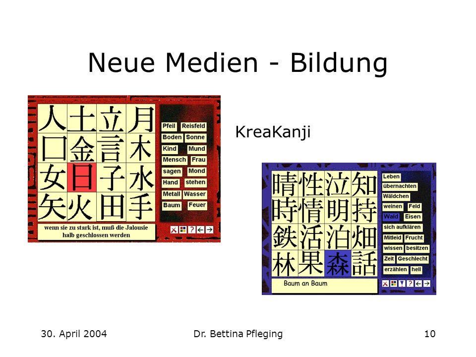 Neue Medien - Bildung KreaKanji 30. April 2004 Dr. Bettina Pfleging