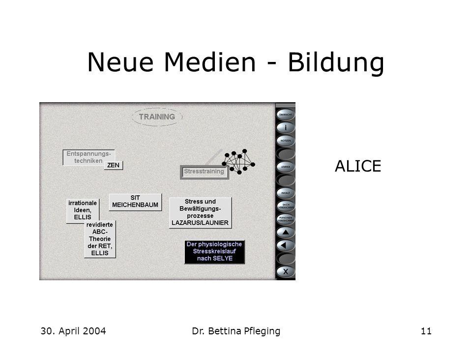 Neue Medien - Bildung ALICE 30. April 2004 Dr. Bettina Pfleging