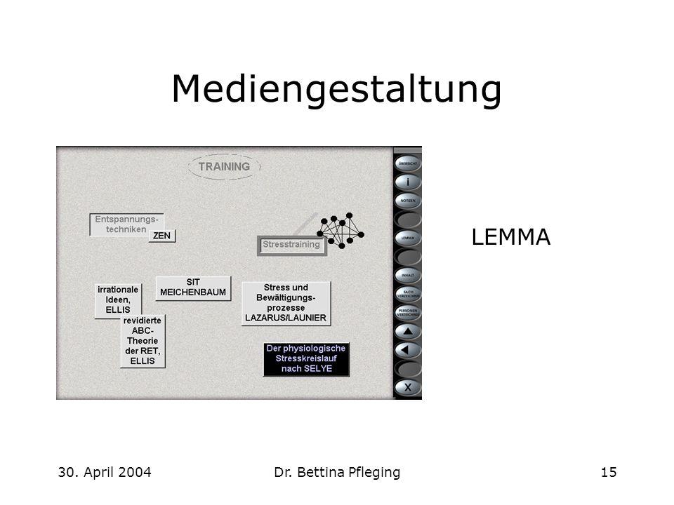 Mediengestaltung LEMMA 30. April 2004 Dr. Bettina Pfleging