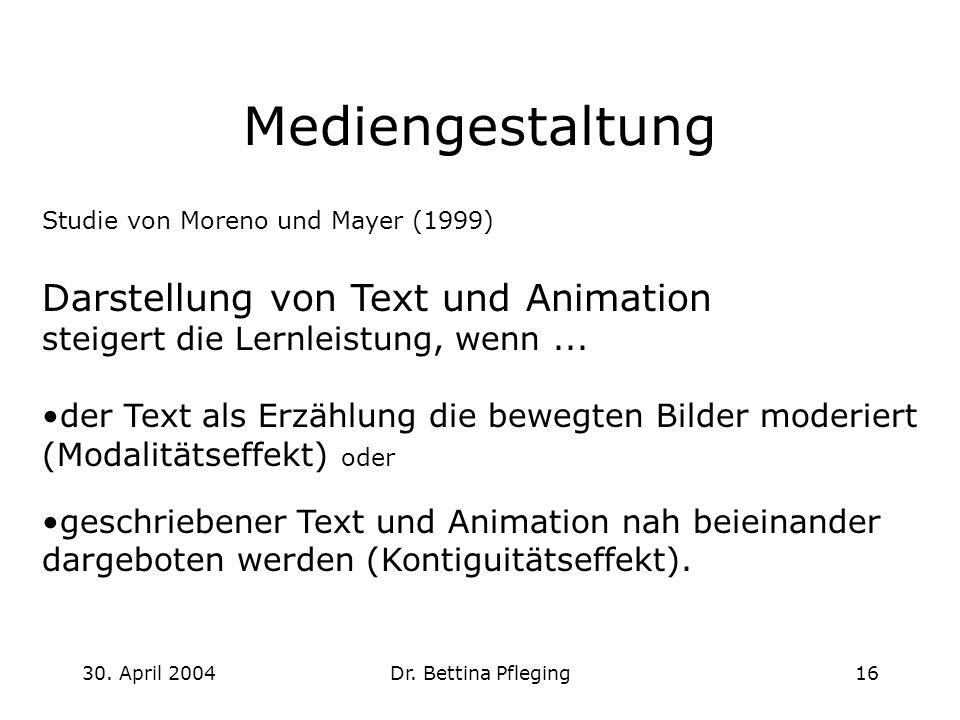 Mediengestaltung Darstellung von Text und Animation