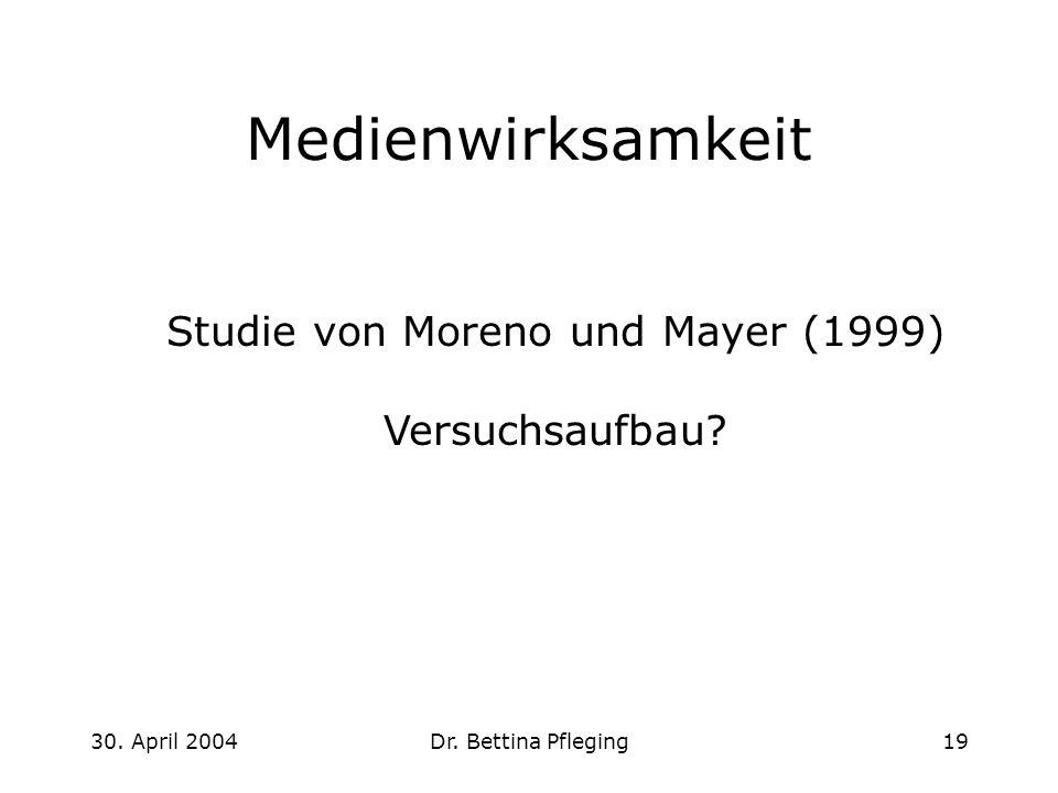Studie von Moreno und Mayer (1999)