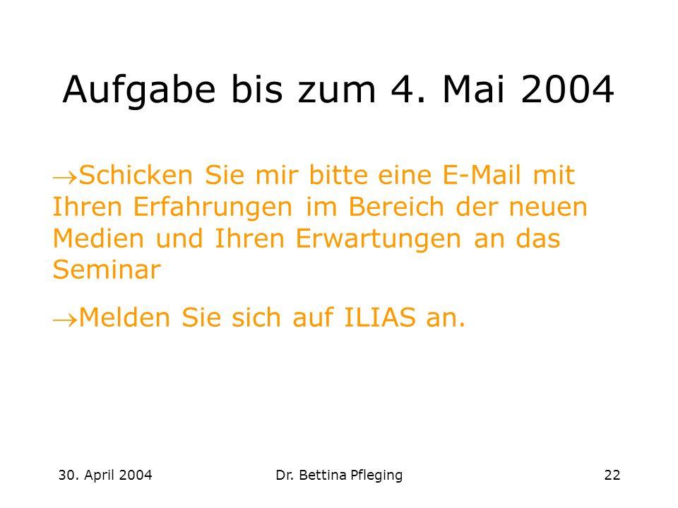 Aufgabe bis zum 4. Mai 2004 Schicken Sie mir bitte eine E-Mail mit Ihren Erfahrungen im Bereich der neuen Medien und Ihren Erwartungen an das Seminar.