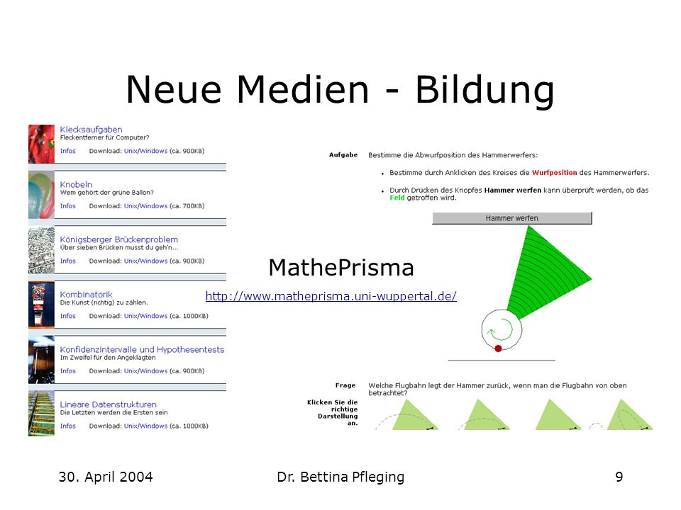 Neue Medien - Bildung MathePrisma 30. April 2004 Dr. Bettina Pfleging