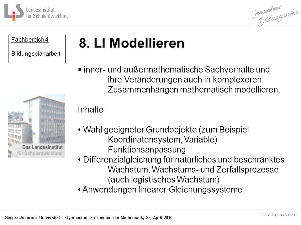 8. LI Modellieren Fachbereich 4. Bildungsplanarbeit.