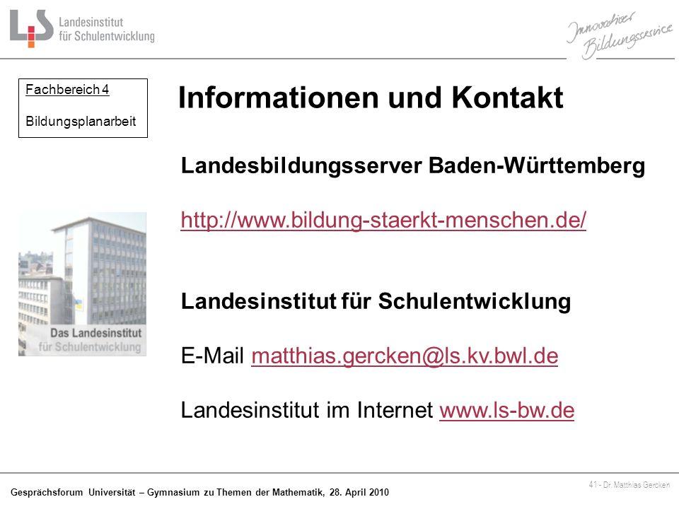 Informationen und Kontakt