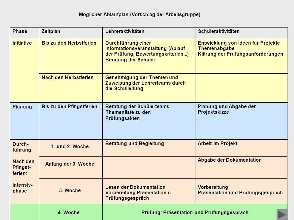 Möglicher Ablaufplan (Vorschlag der Arbeitsgruppe)