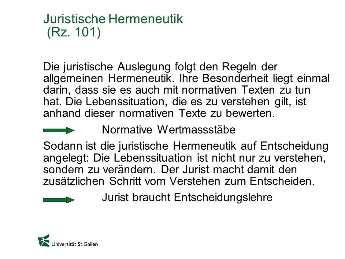 Juristische Hermeneutik (Rz. 101)