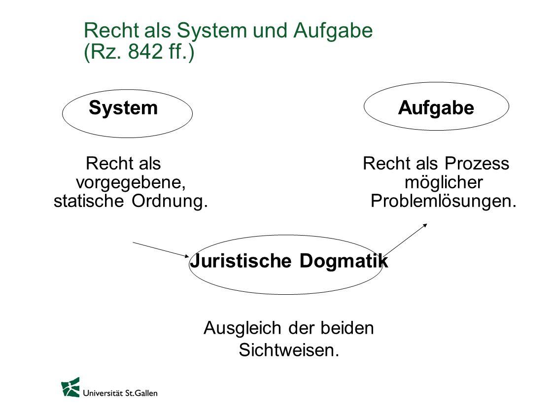 Recht als System und Aufgabe (Rz. 842 ff.)