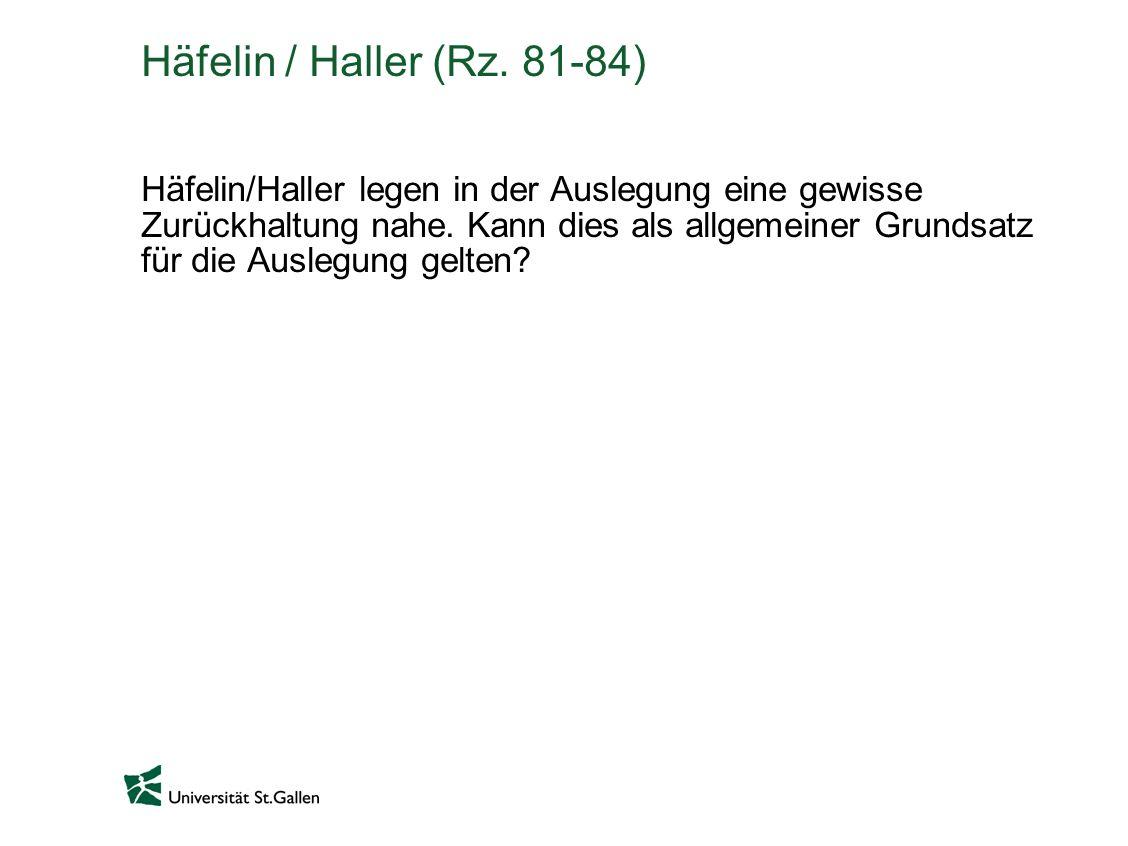 Häfelin / Haller (Rz. 81-84)