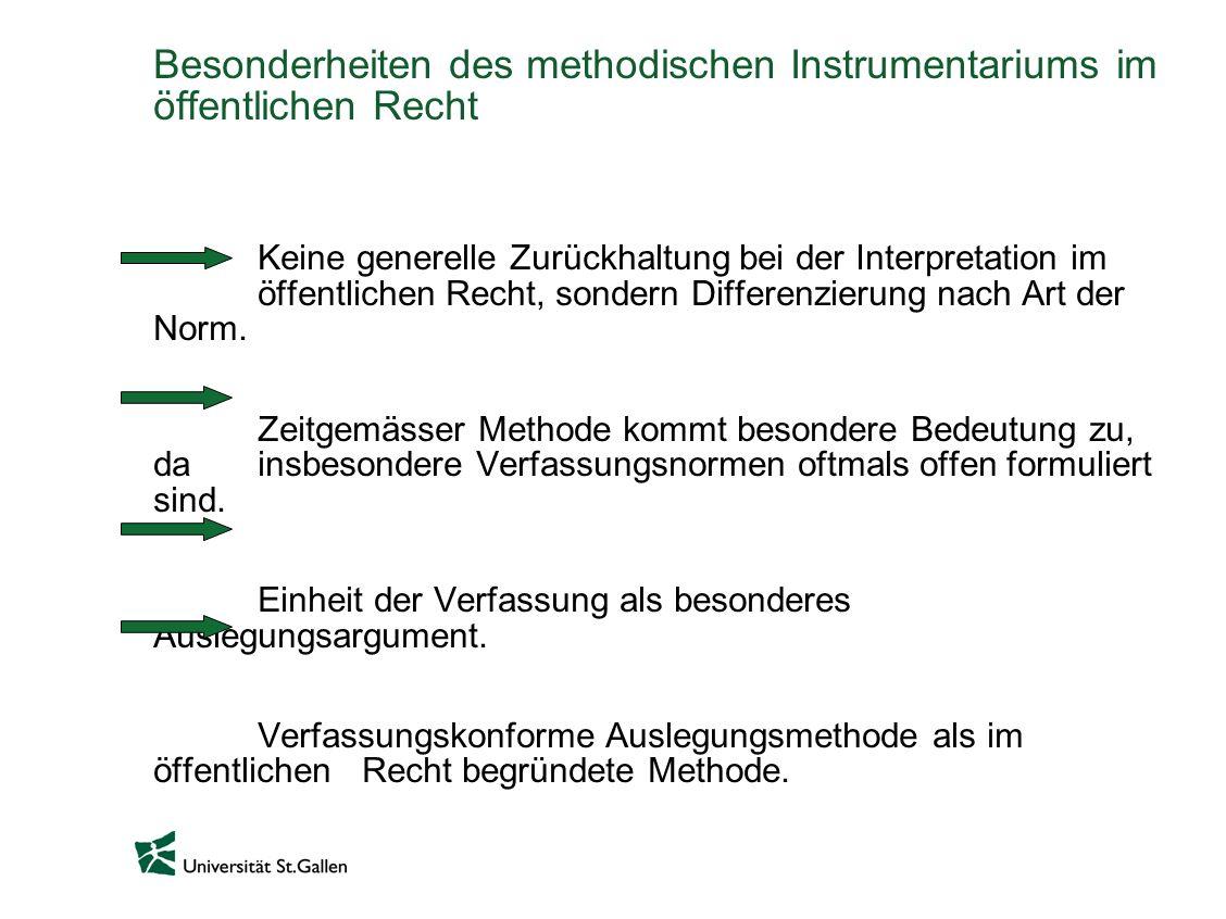 Besonderheiten des methodischen Instrumentariums im öffentlichen Recht