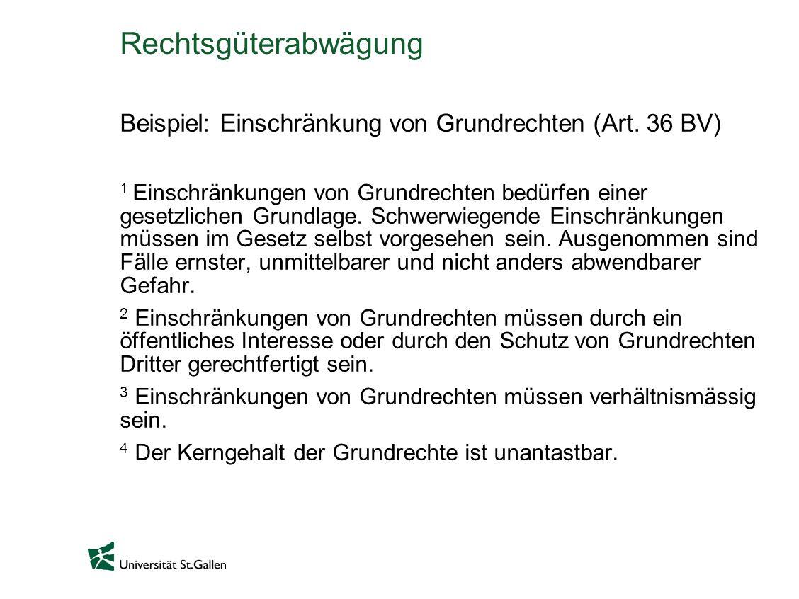 Rechtsgüterabwägung Beispiel: Einschränkung von Grundrechten (Art. 36 BV)