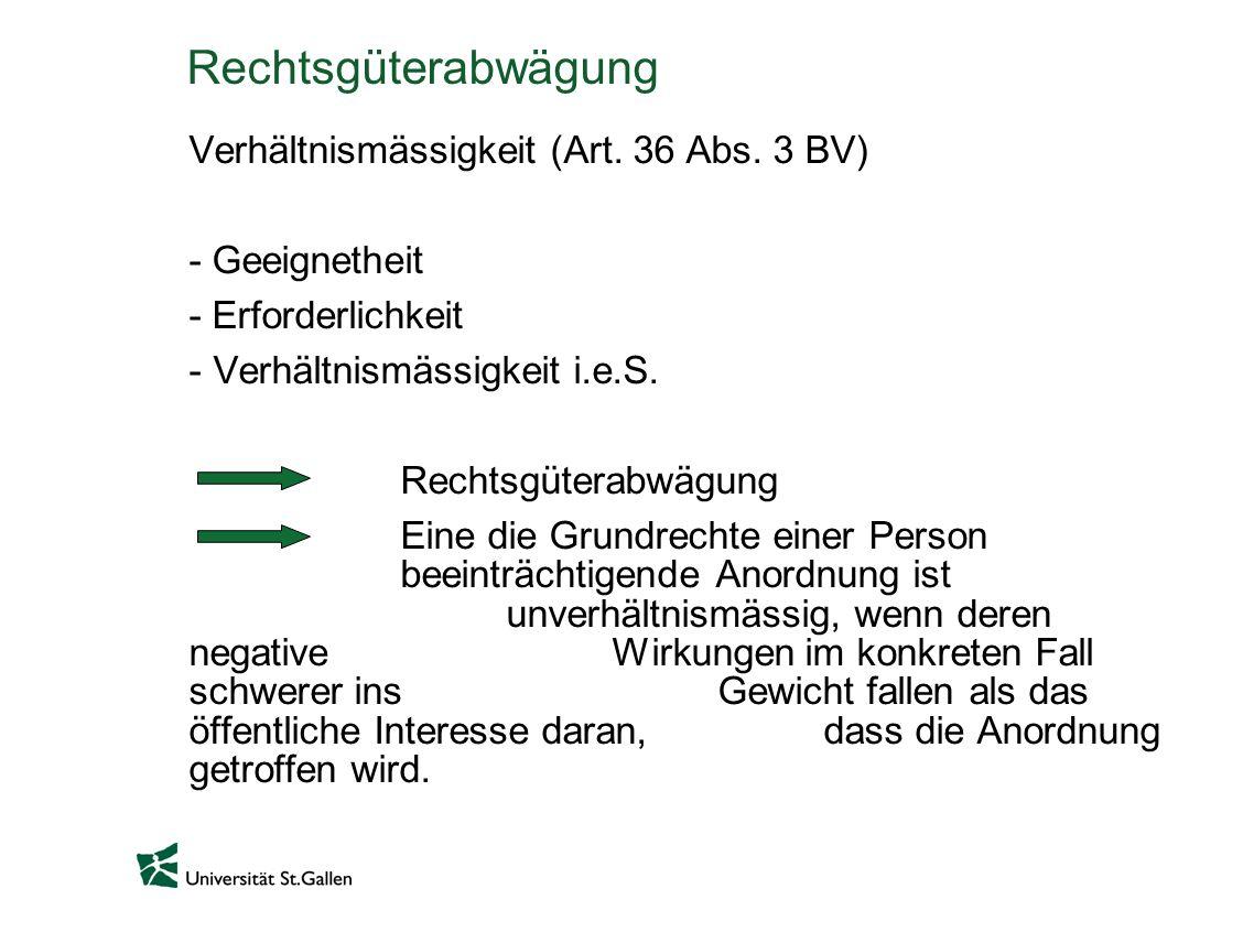 Rechtsgüterabwägung Verhältnismässigkeit (Art. 36 Abs. 3 BV)