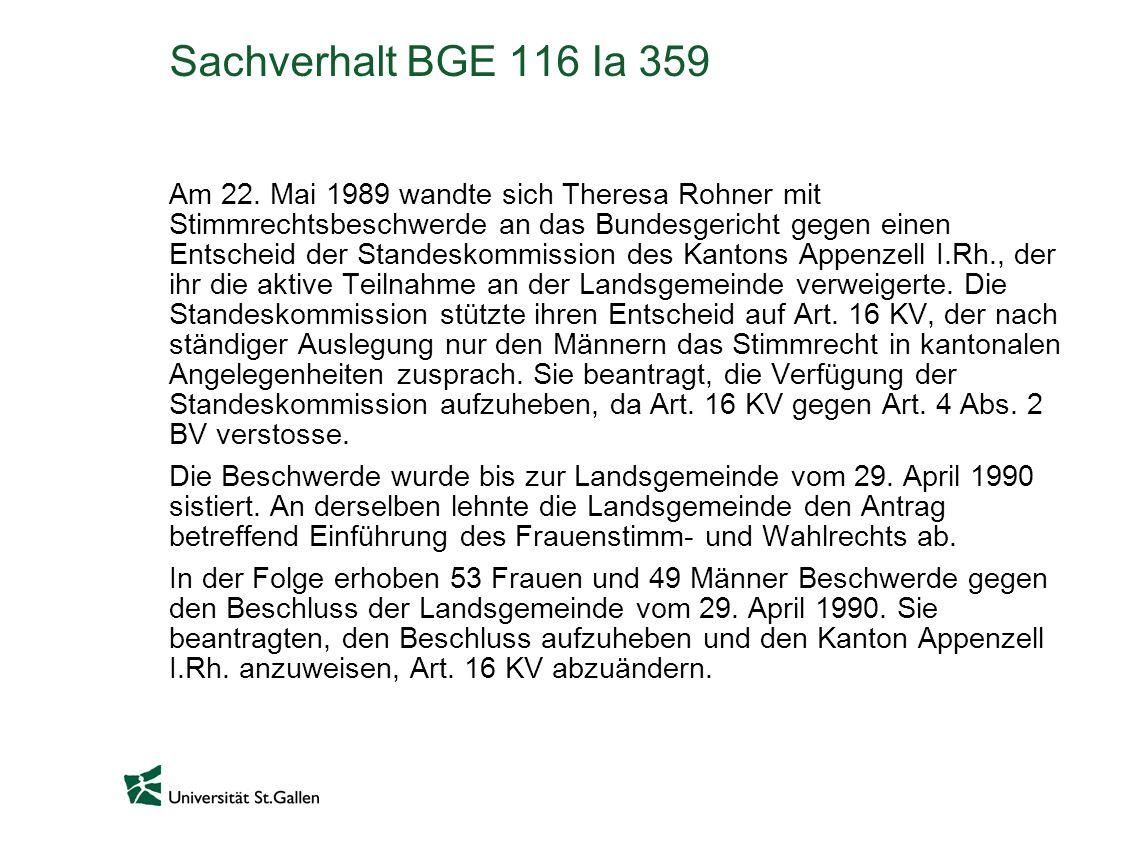 Sachverhalt BGE 116 Ia 359