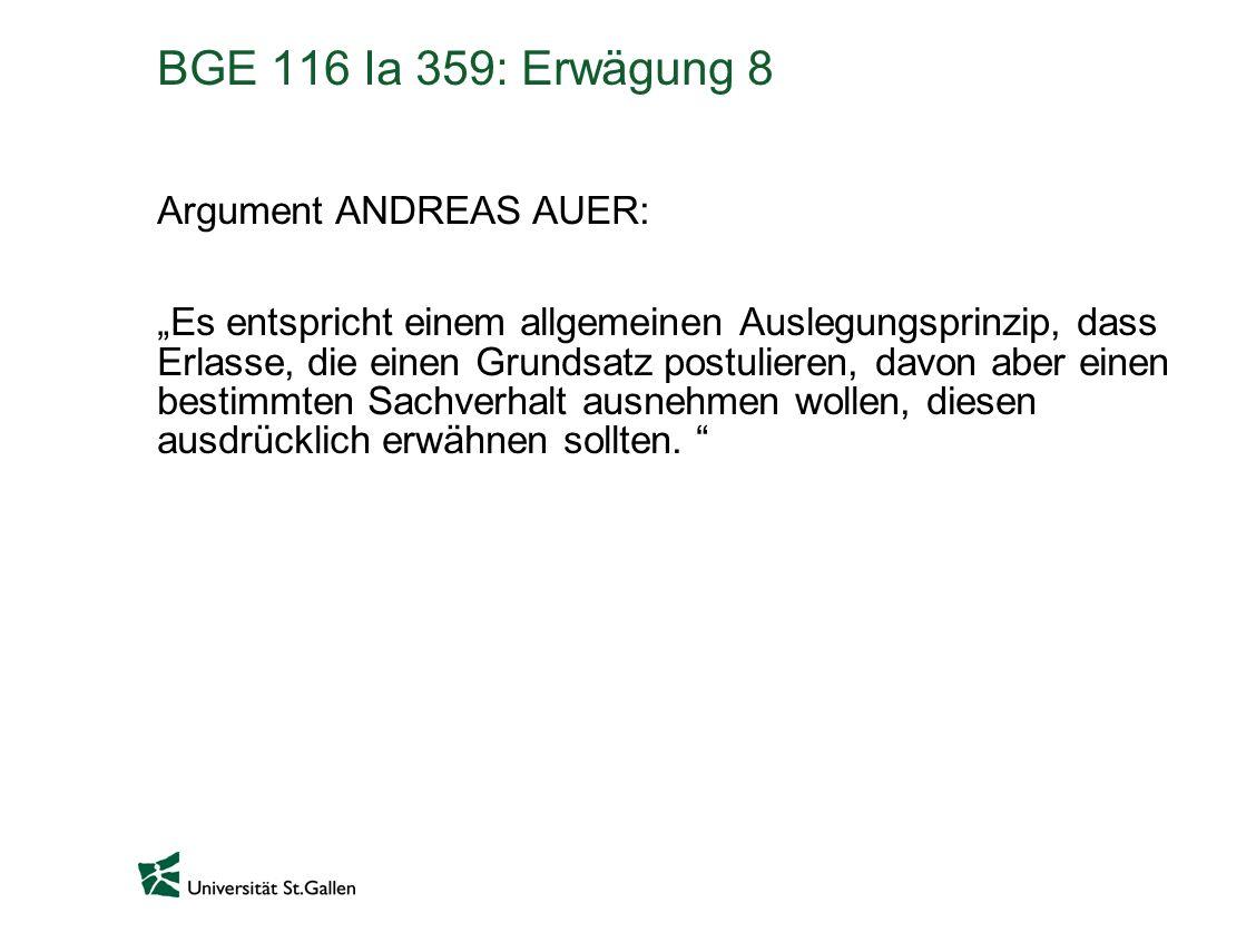 BGE 116 Ia 359: Erwägung 8 Argument ANDREAS AUER: