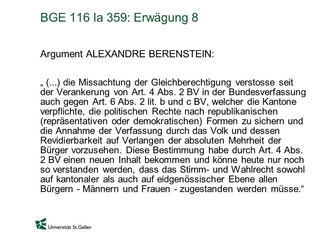 BGE 116 Ia 359: Erwägung 8 Argument ALEXANDRE BERENSTEIN: